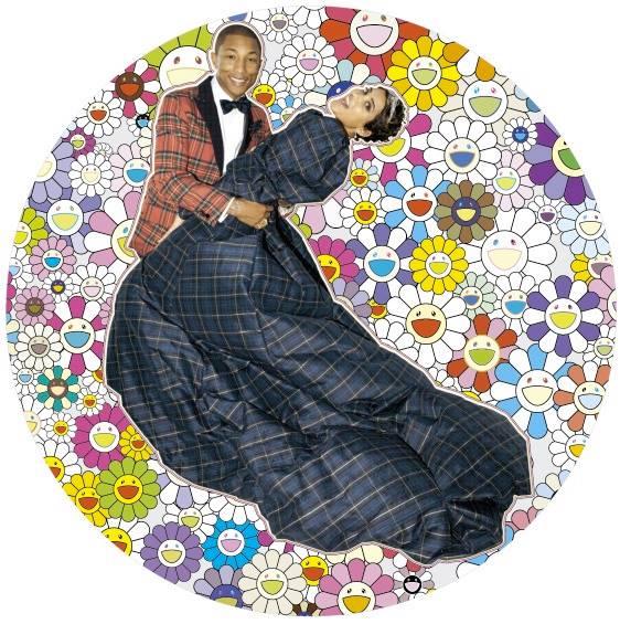 Pharrell et son épouse. Œuvre de Murakami