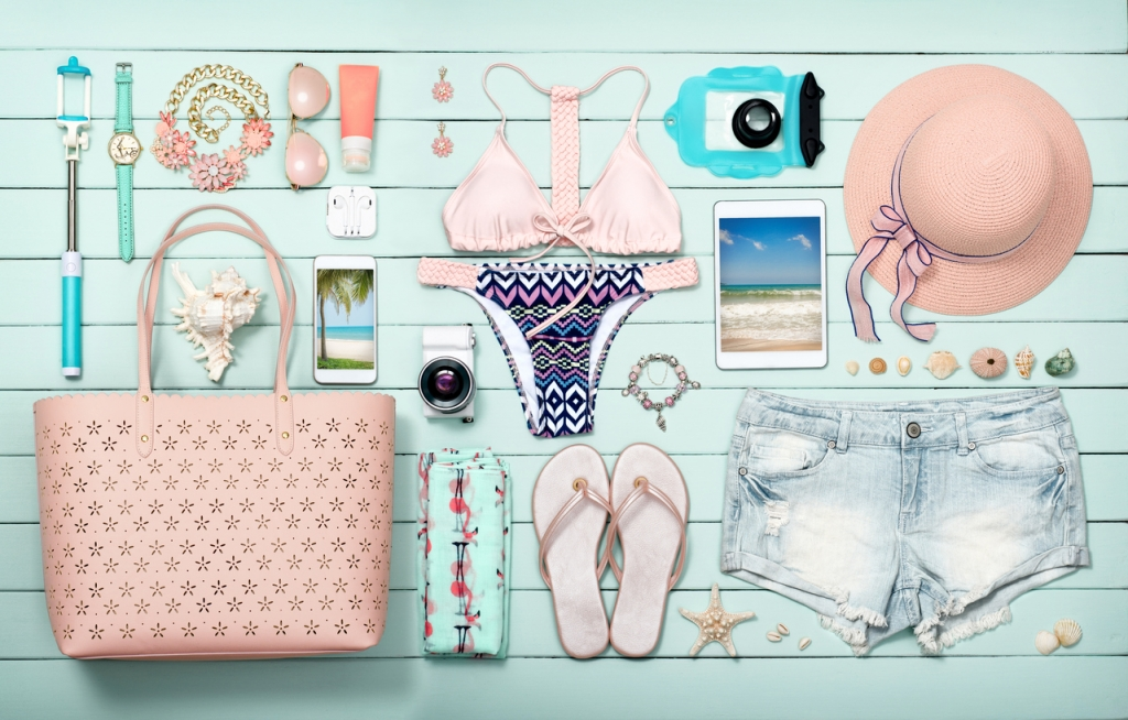 beach accessories on the wooden plank